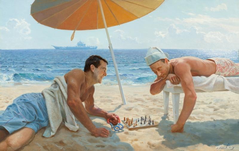 Путин и Медведев играют в шахматы.